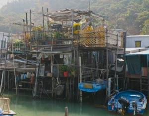 Stilt house on the waterway in Tai O.