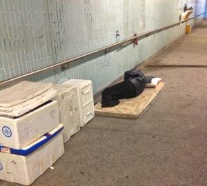 Sleeping in a pedestrian underpass