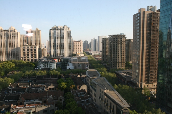 Xintiandi neighbourhood redevelopment in Shanghai as viewed from an upper floor of the Langham Hotel.