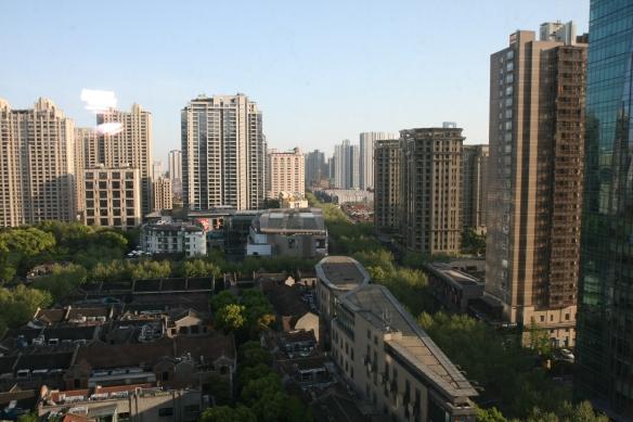 Xintiandi neighbourhood redevelopment in Shanghai as viewed from an upper floor of the Langham Hotel.